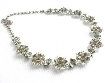 "Gorgeous Black Diamond Rhinestone 16 1/2"" Long Vintage Necklace / Collar Necklace - Estate Jewelry - Smoky Gray Marquis Stones"