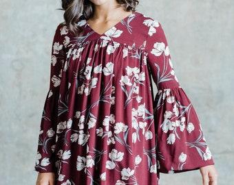 Luna Bellsleeve Dress (Burgundy Floral) - Bellsleeve dress with front and back gathering