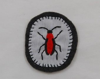 Orange and Gray Beetle Embroidered Patch