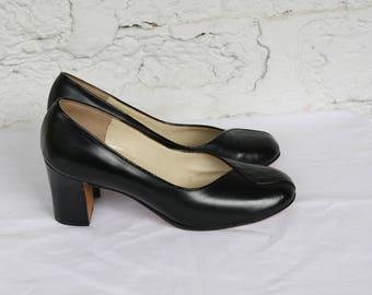 1940s Black Pumps / Vintage Leather Heels / Black Leather Pumps / 1940s Black Leather Heels / Deadstock 1940s Black Leather High Heels 6