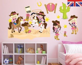 Cowgirls Nursery StickersRepositionable Fabric Wall Decals Removable Vinyl Wall Sticker Kid Wall Decals for Kids Peel Stick UK & Kids wall decal | Etsy