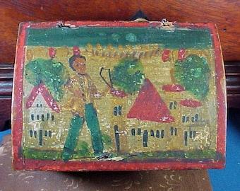 Antique Box, Miniature Erzgebirge Painted Box, Boy, Houses, Trees,  Doll House Trunk, Museum Deaccession