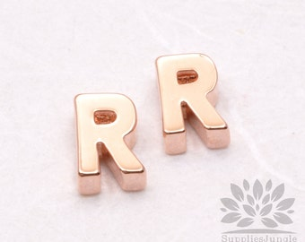 """IP002-GRG-R// Glossy Rose Gold Plated Simple Initial """"R"""" Pendant, 2 pcs"""