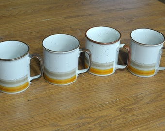 A Set of 4 Lunch Mates Sunset Pattern Orange, Tan and Brown Stoneware Coffee Mugs - Tea Cups - Made in Japan
