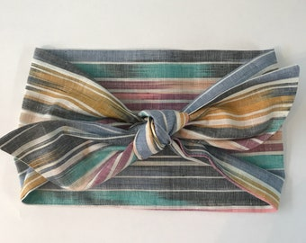 Hombre Chambray Multi Stripe Headwrap/Headband - One Size Fits All