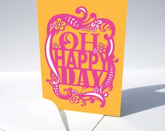 Engagement Announcement Card, Oh Happy Day, Congratulations Orange Pink Bright Birthday Card