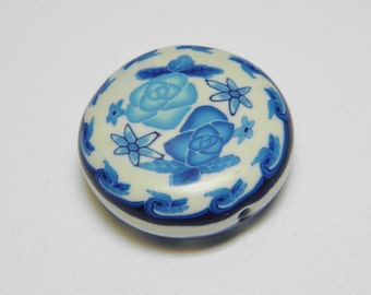 Blue and White Ode to Spode Polymer Clay Millefiori Bead