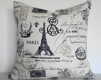 Shabby Chic Eiffel Tower Decorative Pillow Cushion, French Pillow, Paris Travel Stamp Passport Pillow Cover, Navy Blue, 18 x 18,  16 x 16