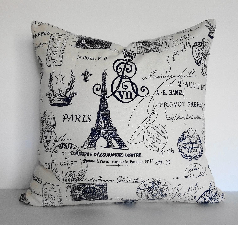 Paris Eiffel Tower Pillow 16 X 16: Shabby Chic Eiffel Tower Decorative Pillow Cushion French
