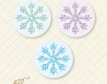 Snowflake Printable Iridescent Glitter Effect Cupcake Topper Sticker Round favor Tag for Parties snow winter instant download digital party