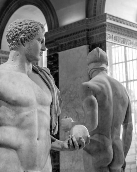 Male Statues Two Classical Museum Nudes Naked Marble Men-1671