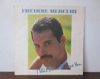 Vintage '80s Record Store Promo, Freddie Mercury, I Was Born To Love You / Mr. Bad Guy Double-Sided 12 x 12 Print