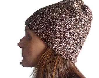 Crochet hat in fantasy point mottled brown. Elegant crochet beanie.
