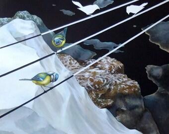 "Original lowbrow  pop surrealism painting  ""A message of distress"""