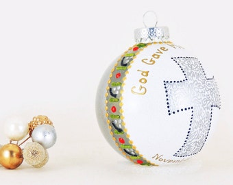 Baptism, Communion, Confirmation ornament - Hand painted personalized glass ball