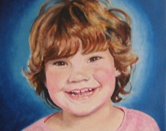 Original Custom Portrait Painting from your own photo, oil painting on canvas, example Beautiful Smile, children, family,