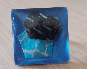 SQUARE ring in resin, bleucadeau mothers day