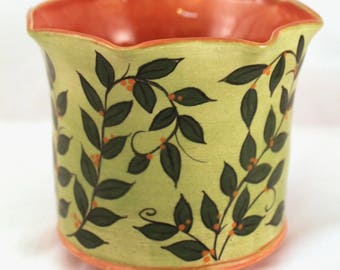 Wheel Thrown Altered Stoneware Pottery Vase Green Leaves Burnt Orange OOAK