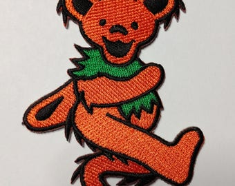 """3"""" Orange Dancing Bear Patch Grateful Dead Owsley Stanley Merry Pranksters Steal Your Face"""