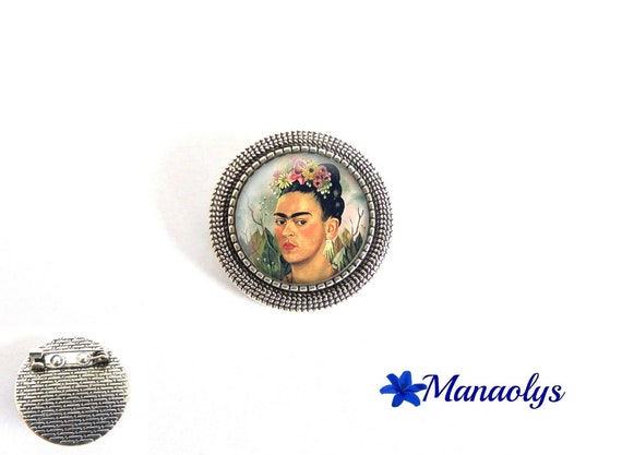 Antique silver round brooch, frida Kahlo painting 35 glass cabochons