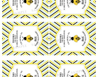 Lucky to BEE Your Manager/Supervisor - Employee Appreciation Labels (Digital Download)