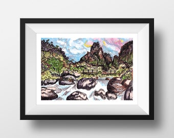 Lihue - illustration - giclee print
