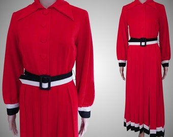 Vintage Maxi Dress//Toni Todd//Designer//Red//Black//Red//1970s Dress//70s Maxi Dress