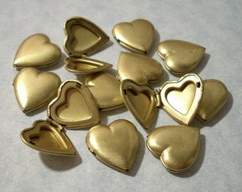 6 Vintage Brass Heart Lockets - 15mm - No Loop
