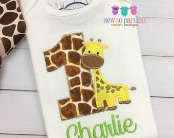 Giraffe Birthday Shirt - 1st Birthday Safari Shirt -  Baby Boy Giraffe Birthday Outfit - Safari Birthday shirt - Boy first birthday shirt