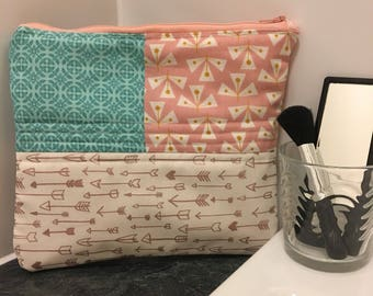 Contemporary Patchwork Quilted Arrow Toiletry/Make Up Bag