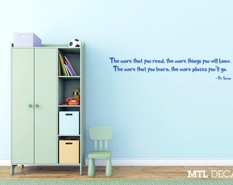 Dr Seuss, Wall Decal, Quote, Wall Sticker, Kid's Room, Decor