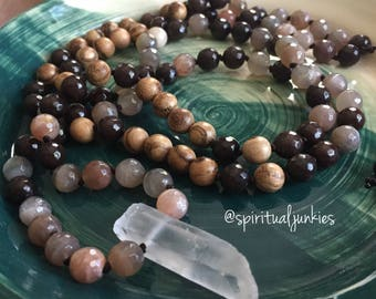 108 Bead Partially Handknotted Spiritual Junkies Sunstone, Brown Jade, Natural Wood + Quartz Crystal Yoga + Meditation Mala