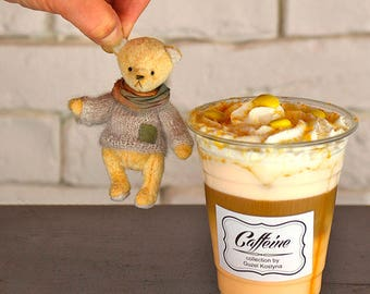 Teddy bear Vanilla Shake 9 cm 3.54 in Stuffed Animal Soft Toy OOAK bears Artist teddy bears Hand made teddy bears Teddy bears