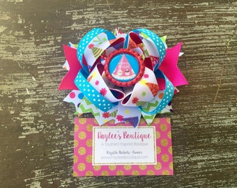 Birthday Hair Bow - Birthday Hair Clip - Happy Birthday - Stacked Hair Bow - Birthday Outfit