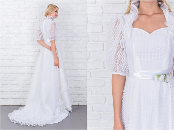 Vintage 80s Wedding Dress Victorian Puff Sleeve Dot Lace