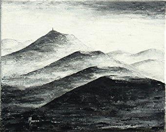 "Monochrome painting - ""chain of Puys 11"" - Auvergne - Puy de Dome - Clermont-Ferrand-"
