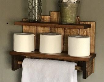 Bathroom storage, Rustic towel holder, Storage for bathroom, Bath towel storage, Toilet paper storage, Rustic Bathroom Storage Shelf