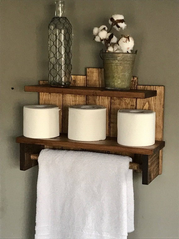 Bathroom storage, Rustic towel holder, Storage for bathroom, Bath towel storage, Toilet paper storage, Rustic Bathroom Storage Shelf