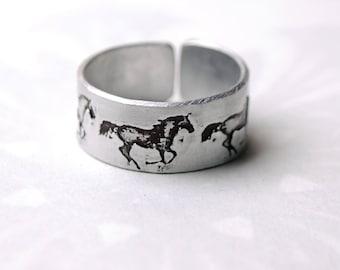 Horse ring, Kelpie ring, running horses, wild horse ring, equine jewelry, embossed fashion ring, artisan jewelry, nickel free ring,