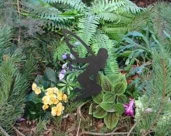 FAIRY SHADOW Garden Stake Yard Decor Lawn Ornament Metal Art Magical Mystical 13