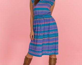Vintage Jewel Toned Doodle Print Jersey Knit Dress (Size Medium/Large)