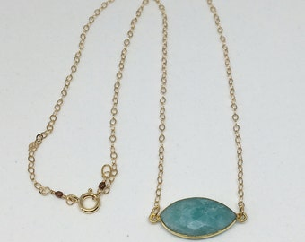 Amazonite Pendant Necklace on Gold Filled Chain