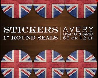 Instant Download - Union Jack Sticker Envelope Seals  - UK Design Stickers Bottlecaps Avery 05410 & 6450 Stickers Britain British Flag
