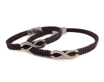 Infinity leather bracelet Infinity Couple bracelets Leather bracelet Men leather bracelet Infinity bracelet Couple bracelets