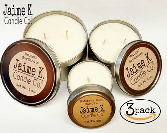 Food Scented Candle Tin Gift Sets 100% Soy Wax  Dye Free