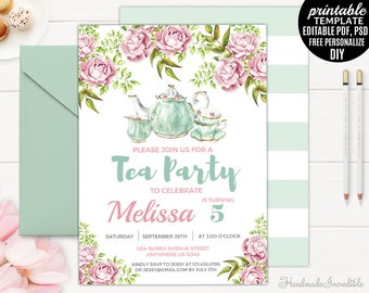 Mint Tea Party Birthday Invitation Template. Printable Tea Party Invitation. Floral Blush Pink Garden Vintage Girl Birthday Invitation.