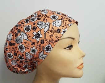 Euro Bird On Flower Medical Surgical Scrub Hat Vet Nurse Chemo CRNA-Women Caps