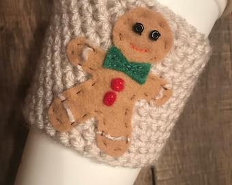Gingerbread Man Coffee Cozy / Crochet Coffee Sleeve / Reusable Coffee Cozy