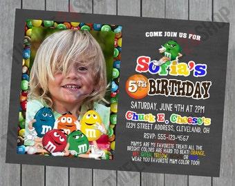 M&M's Birthday Invitation - Candy Birthday Invitation