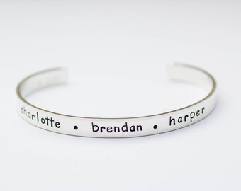 Mothers Day Gift, Personalized Mom Bracelet, Childrens Names, Sterling Silver Cuff, Gift for Mom from Kids, Personalized Jewelry